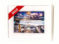 Whitewater Rush, Maroubra  &ndash; Ex exhibition work. One only available. 8x12&rdquo; signed print on Fujicolor Pearl metallic paper. Mounted on 2mm aluminium composite. White box frame with white mattboard, UV acrylic &amp; D-ring hangers. Outside frame dimensions 350 x 450 x 38mm. Clearance price $149 incl GST &amp; free delivery in Sydney metro area. Add $30 delivery elsewhere in Australia. <br />