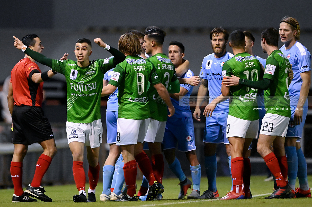 SYDNEY, AUSTRALIA - AUGUST 21: A fight breaks out during the FFA Cup round of 16 soccer match between Marconi Stallions FC and Melbourne City FC on August 21, 2019 at Marconi Stadium in Sydney, Australia. (Photo by Speed Media/Icon Sportswire)