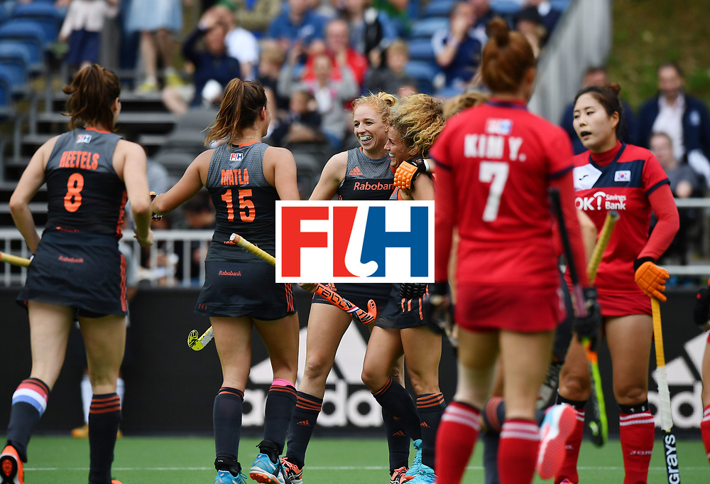 BRUSSELS, BELGIUM - JUNE 24: Margot van Geffen (C) of Netherlands celebrates after scoring during the FINTRO Women's Hockey World League Semi-Final Pool A game between Korea and Netherlands on June 24, 2017 in Brussels, Belgium. (Photo by Charles McQuillan/Getty Images for FIH)