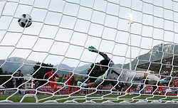 Switzerland's Ricardo Rodriguez (L) scores a penalty against Japanes goalkeeper Eiji Kawashima during their friendly soccer match in the stadium Cornaredo in Lugano, southern Switzerland June 8, 2018. Switzerland won 2-0 against Japan. XINHUA/Ruben Sprich (Credit Image: © Ruben Sprich/Xinhua via ZUMA Wire)