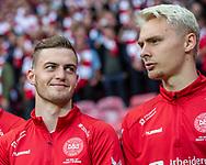 FOOTBALL: Jacob Bruun Larsen (Denmark) smiling with teammate Victor Nelsson during the EURO 2020 Qualifier match between Denmark and Georgia at Parken Stadium on June 10, 2019 in Copenhagen, Denmark. Photo by: Claus Birch / ClausBirchDK.