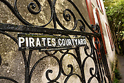 The garden gate to the Pirates Courtyard along Church Street in historic Charleston, SC.