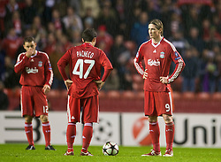 LIVERPOOL, ENGLAND - Wednesday, December 9, 2009: Liverpool's Fernando Torres and Daniel Pacheco look dejected as AFC Fiorentina score a late winning goal during the UEFA Champions League Group E match at Anfield. (Photo by David Rawcliffe/Propaganda)