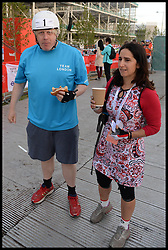 The Mayor of London Boris Johnson has breakfast before he and his wife Marina set off from the Olympic Park on their Ride London bike ride, a 100 mile cycle ride, London, United Kingdom<br /> Sunday, 4th August 2013<br /> Picture by Andrew Parsons / i-Images