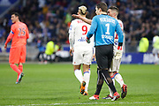 Rémy Vercoutre of Caen and Jordan Ferri of Lyon during the French Championship Ligue 1 football match between Olympique Lyonnais and SM Caen on march 11, 2018 at Groupama stadium in Decines-Charpieu near Lyon, France - Photo Romain Biard / Isports / ProSportsImages / DPPI