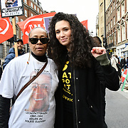 Stephanie Lightfoot-Bennett and Malia Bouattia join the United Families and Friends Campaign (UFFC) 20th Anniversary Procession march to Downing Street demand ask demand justice for their love one killed by polices on 27 October 2018, London, UK.