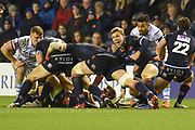 Nathan Fowles screams to team mates during the Guinness Pro 14 2018_19 match between Edinburgh Rugby and Cardiff Blues at Murrayfield Stadium, Edinburgh, Scotland on 23 February 2019.