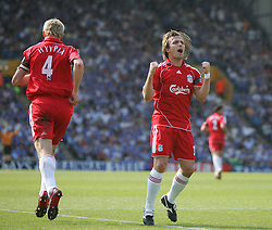 Portsmouth, England: Saturday, April 28, 2007: Liverpool's Sami Hyppia celebrates scoring with a header with team-mate Boudewijn Zenden against Portsmouth during the Premiership match at Fratton Park (Pic by Chris Ratcliffe/Propaganda)