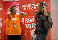 The photo booth at the Prudential main stand at The Cycling Show at The Excel Centre. Prudential RideLondon in London 27th July 2017<br /> <br /> Photo: Jed Leicester/Silverhub for Prudential RideLondon<br /> <br /> Prudential RideLondon is the world's greatest festival of cycling, involving 95,000+ cyclists – from Olympic champions to a free family fun ride - riding in events over closed roads in London and Surrey over the weekend of 27th to 30th July 2017. <br /> <br /> See www.PrudentialRideLondon.co.uk for more.<br /> <br /> For further information: media@londonmarathonevents.co.uk