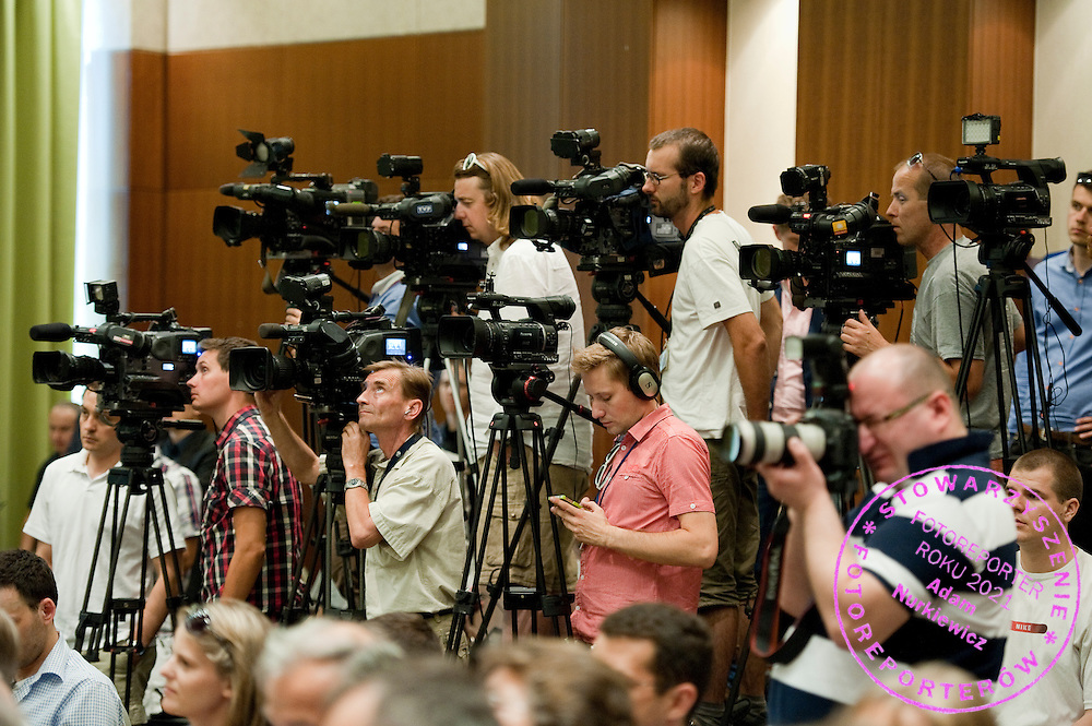 Journalists during press conference of Polish Tennis Association at Hyatt Hotel in Warsaw, Poland.<br /> <br /> Poland, Warsaw, July 08, 2013<br /> <br /> Picture also available in RAW (NEF) or TIFF format on special request.<br /> <br /> For editorial use only. Any commercial or promotional use requires permission.<br /> <br /> Photo by &copy; Adam Nurkiewicz / Mediasport