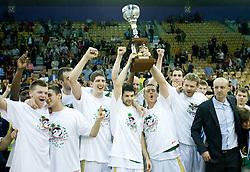 Jaka Klobucar,  Mirza Sarajlija, Damjan Rudez, Saso Ozbolt,  Aleksej Nesovic, Miha Zupan and Jure Zdovc celebrate at third finals basketball match of Slovenian Men UPC League between KK Union Olimpija and KK Helios Domzale, on June 2, 2009, in Arena Tivoli, Ljubljana, Slovenia. Union Olimpija won 69:58 and became Slovenian National Champion for the season 2008/2009. (Photo by Vid Ponikvar / Sportida)