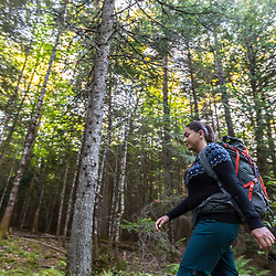 A woman hiking on Clare's Lodge to Lodge Trail near the Appalachian Mountain Club's Little Lyford Lodge in Maine's 100 Mile WIlderness.