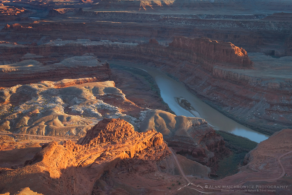 View down to the Colorado River from overlook at Dead Horse Point State Park Utah