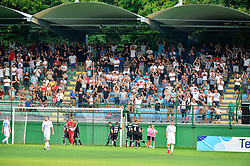 Fans of NS Mura during football match between NS Mura and NK Domzale in 3rd Round of Prva liga Telekom Slovenije 2018/19, on Avgust 05, 2018 in Mestni stadion Fazanerija, Murska Sobota, Slovenia. Photo by Mario Horvat / Sportida