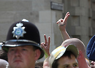 Several hundred people from the English Defence League  marched through Cambridge against the building of a new mosque. A counter-demonstration was held by Unite Against Fascism Cambridge, UK, 09/07/2011