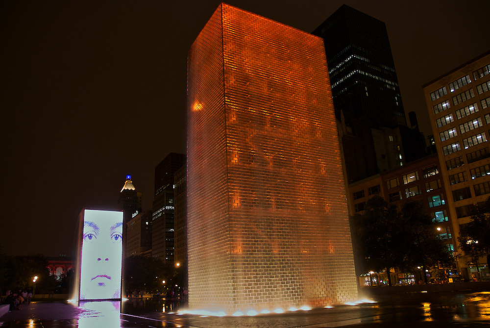 View of The Crown Fountain at Night in Chicago Millennium Park