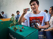"""14 FEBRUARY 2015 - BANGKOK, THAILAND:  A pro-democracy protestor stands behind a mock ballot box in Bangkok. Dozens of people gathered in front of the Bangkok Art and Culture Centre in Bangkok Saturday to hand out red roses and copies of George Orwell's """"1984."""" Protestors said they didn't support either Red Shirts or Yellow Shirts but wanted a return of democracy in Thailand. The protest was the largest protest since June 2014, against the military government of General Prayuth Chan-Ocha, who staged the coup against the elected government. Police made several arrests Saturday afternoon but the protest was not violent.     PHOTO BY JACK KURTZ"""