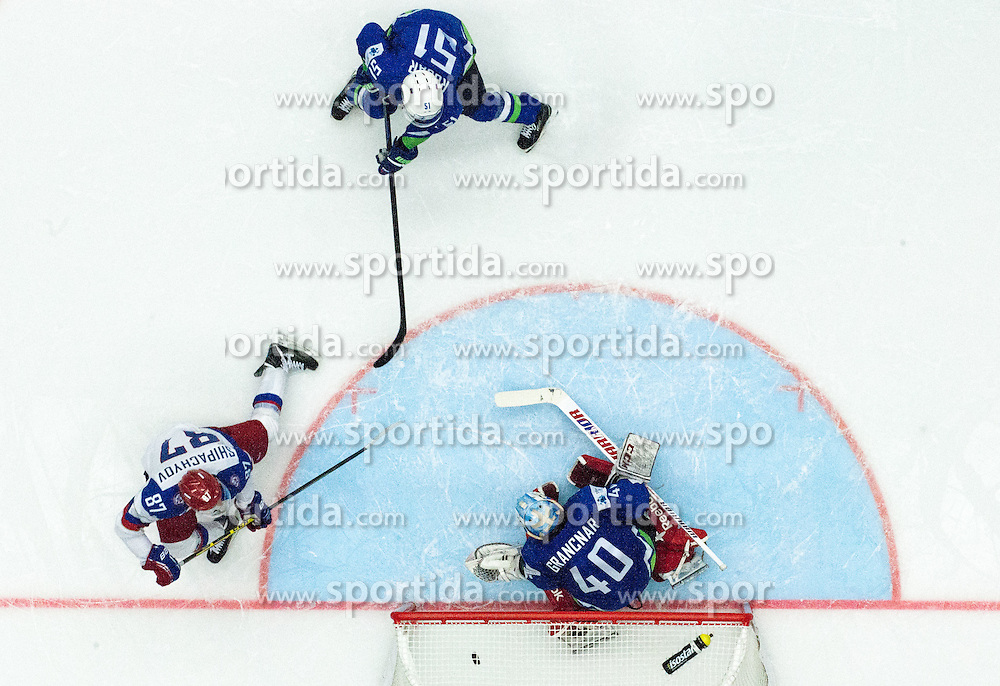 Vadim Shipachyov of Russia scores vs Luka Gracnar of Slovenia during Ice Hockey match between Russia and Slovenia at Day 3 in Group B of 2015 IIHF World Championship, on May 3, 2015 in CEZ Arena, Ostrava, Czech Republic. Photo by Vid Ponikvar / Sportida