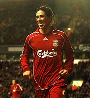 Photo: Paul Greenwood/Sportsbeat Images.<br />Liverpool v Bolton Wanderers. The FA Barclays Premiership. 02/12/2007.<br />Liverpool's Fernando Torres celebrates scoring