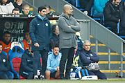 Manchester City Assistant coach Mikel Arteta and Manchester City Manager Pep Guardiola during the Premier League match between Crystal Palace and Manchester City at Selhurst Park, London, England on 14 April 2019.