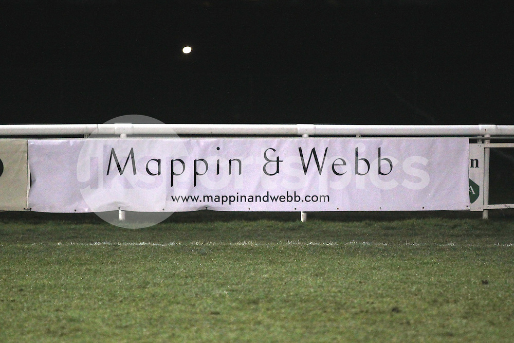 Advertising during the Green King IPA Championship match between London Scottish &amp; Cornish Pirates at Richmond, Greater London on 16th January 2015<br /> <br /> Photo: Ken Sparks | UK Sports Pics Ltd<br /> London Scottish v Cornish Pirates, Green King IPA Championship, 16h January 2015<br /> <br /> &copy; UK Sports Pics Ltd. FA Accredited. Football League Licence No:  FL14/15/P5700.Football Conference Licence No: PCONF 051/14 Tel +44(0)7968 045353. email ken@uksportspics.co.uk, 7 Leslie Park Road, East Croydon, Surrey CR0 6TN. Credit UK Sports Pics Ltd