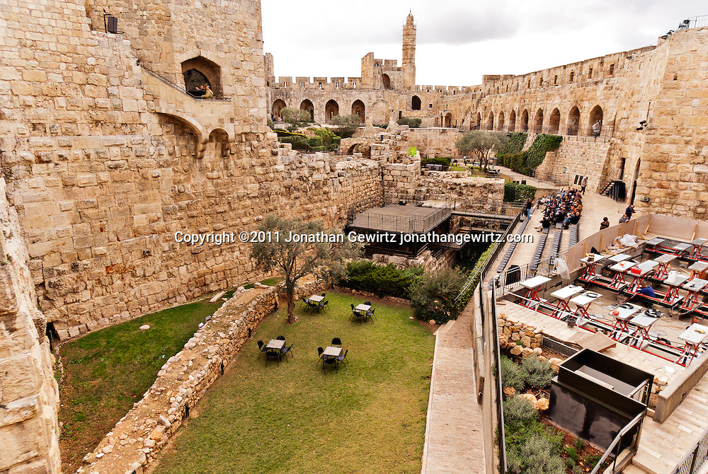 Interior walls, courtyard and tower of the Citadel of David in the Old City of Jerusalem. WATERMARKS WILL NOT APPEAR ON PRINTS OR LICENSED IMAGES.