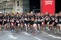 The start of the U17 boys race. The Virgin Money London Marathon, Sunday 26th April 2015.<br /> <br /> Photo: Jed Leicester for Virgin Money London Marathon<br /> <br /> For more information please contact Penny Dain at pennyd@london-marathon.co.uk