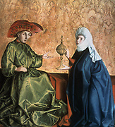 Solomon and the Queen of Sheba' 1437. Tempera on Wood. Fragment of an altarpiece. Konrad or Conrad Witz (c1400-1446) German Northern Renaissance painter. Fabric Silk Metal Gold Cup and Cover