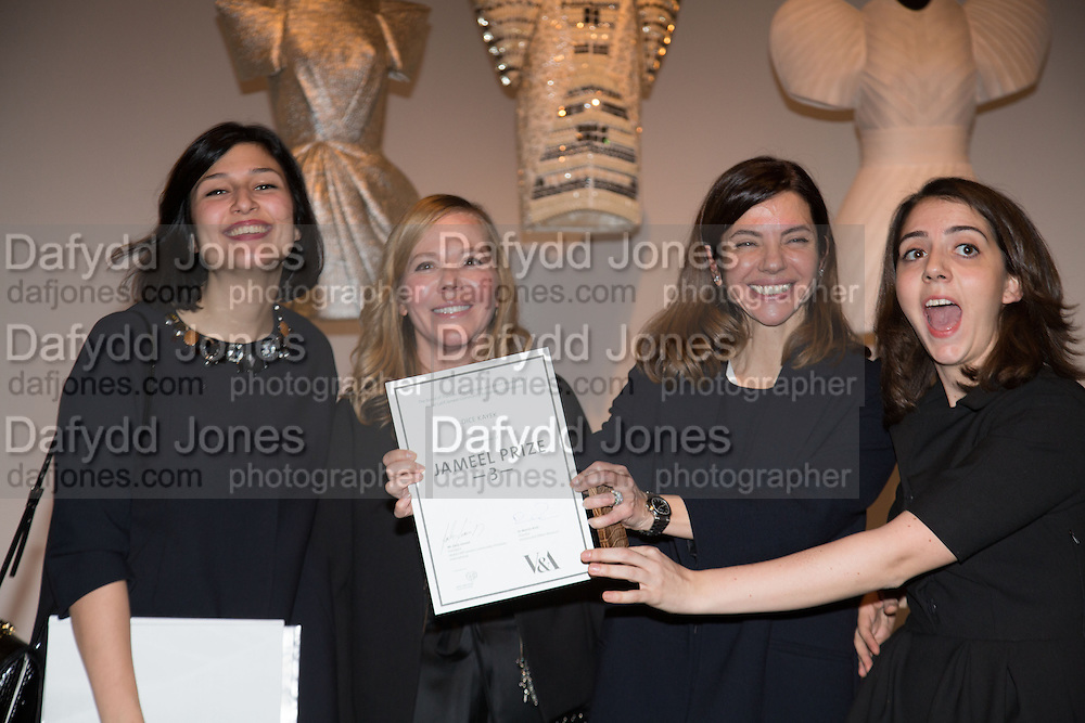 AYSE EGE; AJA EGE OF DICE KAYEK WINNERS OF JAMEEL 2013 PRIZE WITH COLLEAGUES, , Jameel Prize, Victoria and Albert Museum. London. 10 December 2013.<br /> <br /> The Jameel Prize is an international award for contemporary art and design inspired by Islamic tradition.