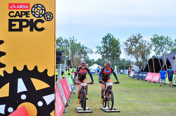 PAARL SOUTH AFRICA - MARCH 23: Jordan Sarrou and Victor Koretzky warm up before the 70km final day, stage 7 on March 23, 2018 Wellingtion to Paarl, South Africa. Mountain bikers gather from around the world to compete in the 2018 ABSA Cape Epic, racing 8 days and 658km across the Western Cape with an accumulated 13 530m of climbing ascent, often referred to as the 'untamed race' the Cape Epic is said to be the toughest mountain bike event in the world. (Photo by Dino Lloyd)