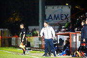 Stevenage's manager Darren Sarll during the EFL Sky Bet League 2 match between Stevenage and Coventry City at the Lamex Stadium, Stevenage, England on 21 November 2017. Photo by Matt Bristow.