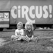 Children by the 'Circus' truck, Ashton Court Festival, Bristol, UK, 1995.
