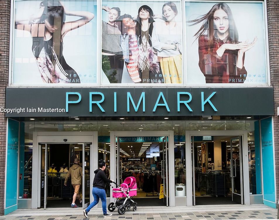 Entrance to Primark budget clothing store on Sauchiehall Street Glasgow, Scotland, united Kingdom