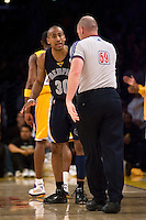 27 March 2007: Guard Dahntay Jones of the Memphis Grizzlies argues a call with referee Joe Crawford while playing against the Los Angeles Lakers during the first half of the Grizzlies 88-86 victory over the Lakers at the STAPLES Center in Los Angeles, CA.