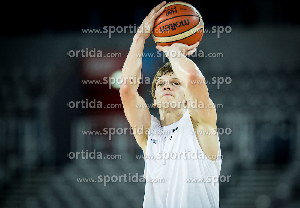 Jaka Klobucar during practice session of Slovenia National Basketball Team 1 day prior to the FIBA Europe Eurobasket 2015, on September 4, 2015, in Arena Zagreb, Croatia. Photo by Vid Ponikvar / Sportida