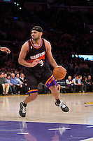 12 February 2013: Guard (3) Jared Dudley of the Phoenix Suns drives to the basket against the Los Angeles Lakers during the first half of the Lakers 91-85 victory over the Suns at the STAPLES Center in Los Angeles, CA.