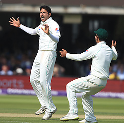 Pakistan's Mohammad Abbas celebrates taking the wicket of England's Joe Root during day three of the First NatWest Test Series match at Lord's, London.