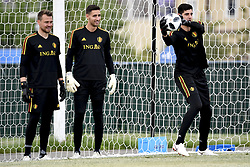 June 16, 2018 - Sochi, RUSSIA - Belgium's goalkeeper Simon Mignolet, Belgium's goalkeeper Koen Casteels and Belgium's goalkeeper Thibaut Courtois pictured during a training session of Belgian national soccer team the Red Devils in Sochi, Russia, Saturday 16 June 2018. The team is preparing for their first game at the FIFA World Cup 2018 next Monday. BELGA PHOTO DIRK WAEM (Credit Image: © Dirk Waem/Belga via ZUMA Press)
