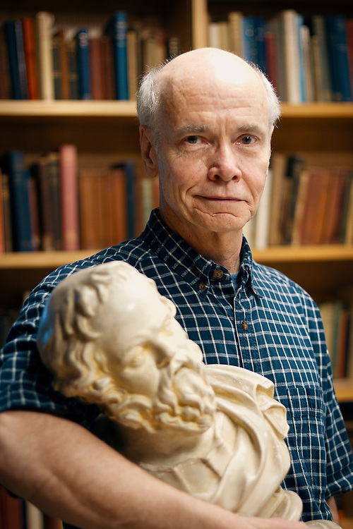 Professor of Classics Ed Phillips searches for Socratic wisdom while posing for a portrait in ARH.<br /> BEN BREWER/Grinnell College