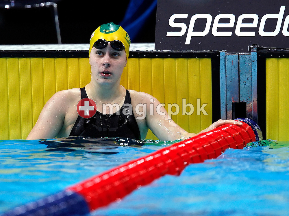 Belinda HOCKING of Australia reacts after competing in the women's 50m backstroke heats in the Duncan Goodhew pool at the FINA Swimming World Championships (25m) in Manchester, Great Britain, Saturday, April 12, 2008. (Photo by Patrick B. Kraemer / MAGICPBK)