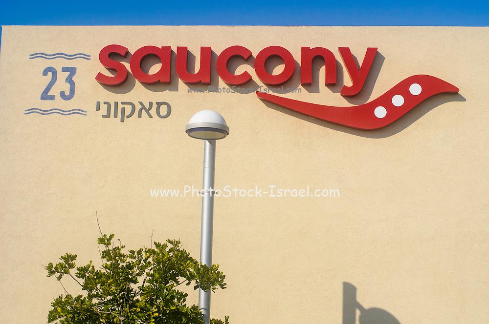 Saucony , logo on shop front Photographed in Tel Aviv, Israel