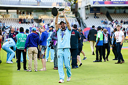 Mark Wood of England celebrates winning the ICC Cricket World Cup - Mandatory by-line: Robbie Stephenson/JMP - 14/07/2019 - CRICKET - Lords - London, England - England v New Zealand - ICC Cricket World Cup 2019 - Final