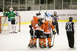 Players of Rittner Baum celebrate goal during hockey match between HK SZ Olimpija (SLO) and Rittner Buam (ITA) in 1st round of Alps Hockey League 2017/18, on September 13, 2017 in Tivoli, Ljubljana, Slovenia. Photo by Urban Urbanc / Sportida