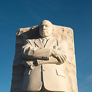 The central statue at the heart of the memorial, sculpted by Lei Yixin. Opened in 2011, the Martin Luther King Jr Memorial sits on the banks of the Tidal Basin in Washington DC and commemorates the civil rights leader.