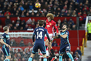 Marouane Fellaini Midfielder of Manchester United wins a header during the Premier League match between Manchester United and Middlesbrough at Old Trafford, Manchester, England on 31 December 2016. Photo by Phil Duncan.