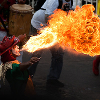 Fire-eater artist at Baranquilla Carnival