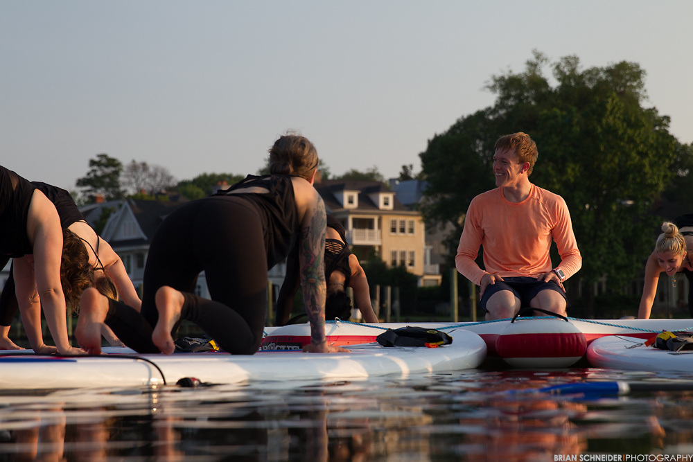 May 27, 2016; Annapolis, MD, USA; lululemon athletica ambassador Charlie Bauer leads a stand up paddle board yoga class at Capital SUP and a hot yoga class at Prana.<br /> Credit:<br /> Brian Schneider-www.ebrianschneider.com<br /> Instagram - @ebrianschneider<br /> Twitter - @brian_schneider<br /> Facebook - @ebrianschneider