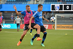 August 29, 2018 - San Jose, California, United States - San Jose, CA - Wednesday August 29, 2018: Guram Kashia, Luis Felipe prior to a Major League Soccer (MLS) match between the San Jose Earthquakes and FC Dallas at Avaya Stadium. (Credit Image: © John Todd/ISIPhotos via ZUMA Wire)