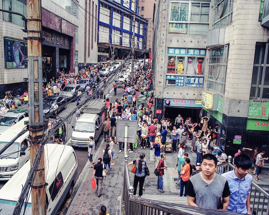 A busy market scene.