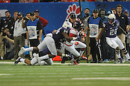 Ole Miss wide receiver Markell Pack (11) tackled by TCU Horned Frogs linebacker Marcus Mallet (54) in the Peach Bowl, in Atlanta, Ga. on Wednesday, December 31, 2014.
